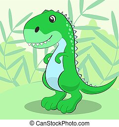 Cute dinosaur standing on a green meadow and smiling Vector...