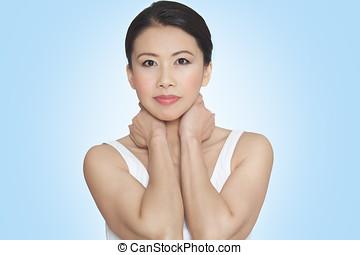 Natural Casual Asian Woman - Beautiful fresh natural glowing...