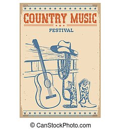 Poster music festival background with guitar and cowboy...