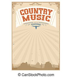 Country music festival background with american landscape -...