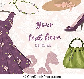 Fashionable woman clothes background for shopping or retail business