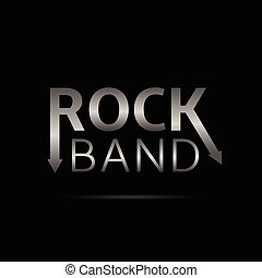 Rock band text - Rock band Hard music Silver Metal text on...