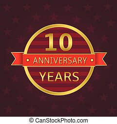 10 years anniversary label Anniversary Golden badge with red...
