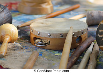 Wooden Tambourine - Wood tambourine with other African...