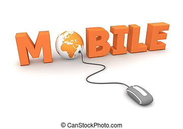 Browse Mobile - Orange - modern grey computer mouse...