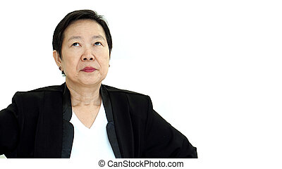 Asian senior manager business woman upset and unhappy...