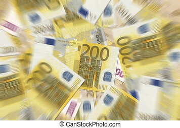 200 Euro Notes Texture Radial Blur