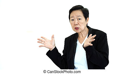Asian senior manager business woman shouting and angry...