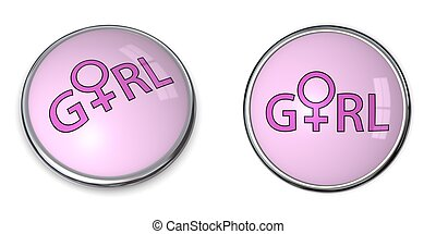 Button Pink Word Girl/Female Gender Symbol