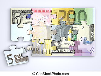 Mixed Dollar and Euro Note Puzzle with Separate Euro Piece -...