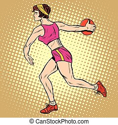Girl discus thrower athletics summer sports games - Girl...