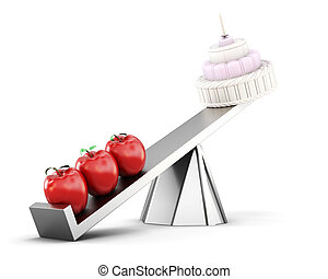 Conceptual image of healthy eating. Cake and apples on the scale