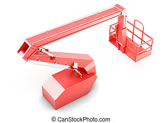 Red cherry picker platform isolated on white background 3d...