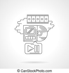 Movie playback detailed line vector icon - Obsolete movie...