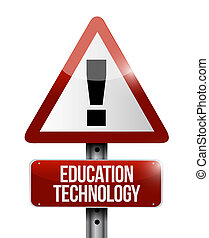 education technology road warning sign concept illustration...