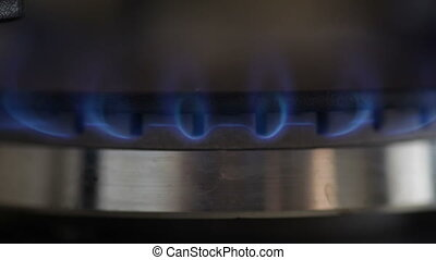 Gas burning in the burner of oven Selective focus.