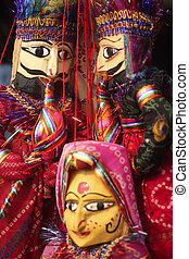 Indian puppets - Indian craft-made puppets on sale at a...