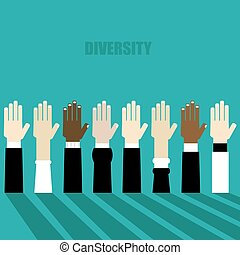 diversity hands raised