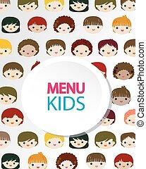 kids faces menu background