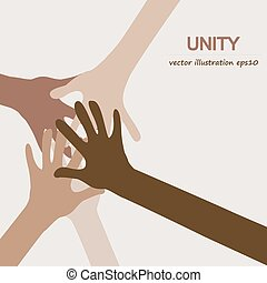 hands diverse togetherness background