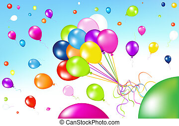 Bunch Of Colorful Balloons With Others balloons In The Air