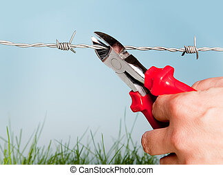 Escape through barbed wire - Hand cutting barbed wire to...