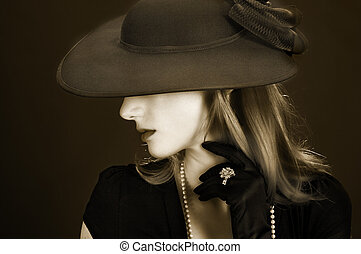 Vintage lady - Beautiful young woman dressed in vintage...
