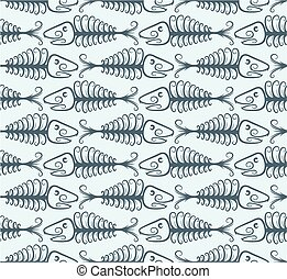 Background with fish skeleton. - A seamless background with...