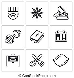 Vector Set of Prison Icons. Prisoner, Tattoo, Court, Sport,...
