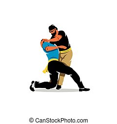 Vector Krav Maga Sparring Cartoon Illustration. - Fight two...