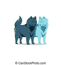 Vector Two Husky Dog Cartoon Illustration. - Siberian Husky...
