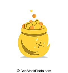 Vector A Gold Pot of Money Cartoon Illustration. - Coins...