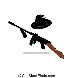 Machine gun favorite weapon of gangsters in the  1920 -1930. Vector Cartoon Illustration.