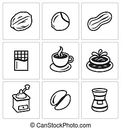 Vector Set of Nuts, Chocolate and Coffee Icons - Walnut,...