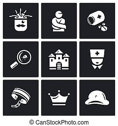 Vector Set of Nuthouse Icons Diagnosis, Straitjacket,...