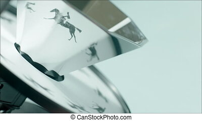 Picture of running horse with rider on cinematograph - Clip...