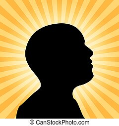 Human silhouette illustration, idea concept, 2d vector on...