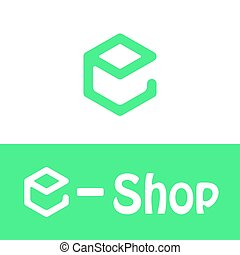 E letter logo, e shop icon, 2d vector, green and white...