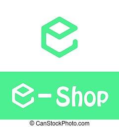 E letter logo, e shop icon, 2d vector, green and white...