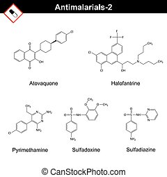 Chemical structures of main antimalarial drugs - atovaquone,...