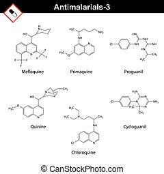 Chemical structures of main antimalarial drugs - mefoquine,...