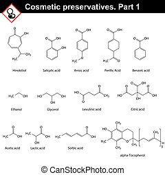 Molecular structures of main cosmetic preservatives, first...