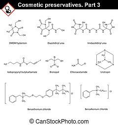 Molecular structures of main cosmetic preservatives, third...