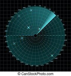 Sonar and radar screen on grid