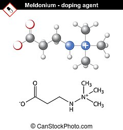 Chemical formula of meldonium molecule, cardioprotector...
