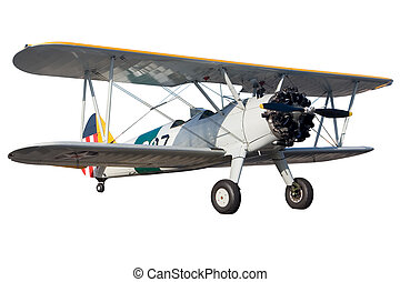 Bi plane - A grey bi plane isolated on white