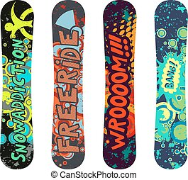 Snowboard design pack with cartoon style elements