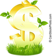 Golden Dollar Sign With Green Leaves In Grass - Golden...