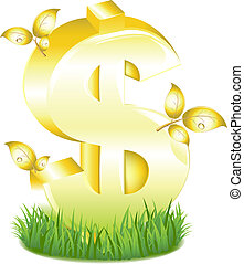 Golden Dollar Sign With Leaves In Grass