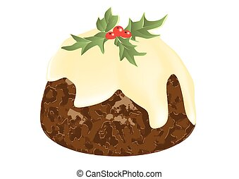 christmas pudding isolayed on a white background